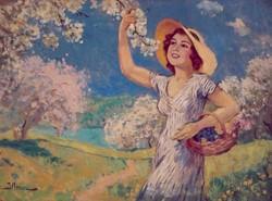 Illencz Lipót (1882-1950): Virágot szedő lány