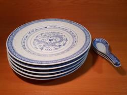 Kínai rizsszemes tányérok és kanálkák