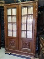 Üveges ART-DECO faragott tömör tölgyfa szekrény