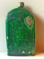 Antik Zöld mázas Verses Cserép Butella VIVÁT 19 század