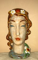 Lajta István Art Deco Kerámia Női fej