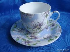 Luxus porcelán virágos teás csésze+ alj