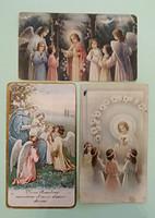 Régi kis szentkép angyalos vallási emléklap 1928 imalap 3 db