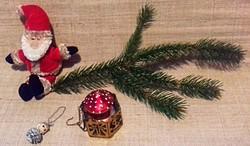 Régi mikulás felakasztható gyertyatartó gomba alakú gyertyával karácsonyfadísz egyben 4 -db.
