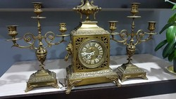 Antik réz kandalló óra 2 gyertyatartóval