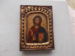 Byzantic ikona fabol,aranyozott tojás tempera,135x170x28 mm