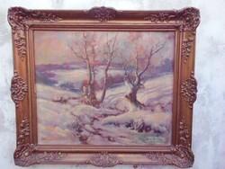 KARÁCSONYRA.Barsi Béla téli,havas táj.Gyönyörű keretben.