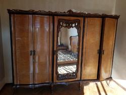 Olasz chippendale ruhásszekrény, '40-es évek vége-komplett hálószoba bútor része