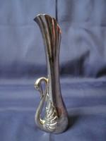 Régi ezüstözött hattyú váza hattyúváza fém ibolya váza 17,5 cm
