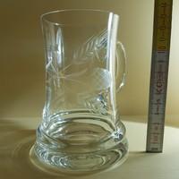 Csiszolt, kalászmintás kis üveg söröskorsó (499)