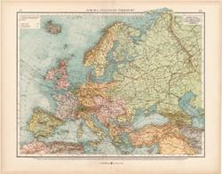 Európa politikai térkép 1902, német nyelvű, atlasz, 44 x 56 cm, Moritz Perles, Andrees, politika