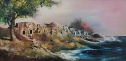 Adilov Kabul: Tengerpart c. 40x80 cm-es olajfestmény eredeti keretben, ingyen postával