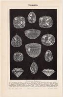 Gyémántok, egy színű nyomat 1894, német nyelvű, gyémánt, kristály, forma, méret, híres ékszer, régi