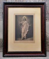 B. Plockhorst : Jézus rézkarc hatalmas faragott biedermeier keretben
