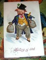 Régi képeslap újévi szerencsemalac  üdvözlőlap