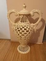 Különleges gyönyörűség! Hatalmas Zsolnay pirogránit Habsburg váza áttört, aranyozott, hibátlan