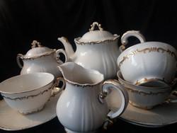 Zsolnay teás készlet, arany stafír, barokkos, antik