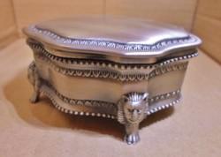 Egyedi szép régi ezüstözött oroszlánlábas ékszertartó