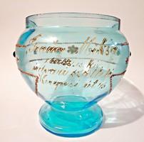 ... Miksa császári és királyi udvari szállító festett késő bieder üveg tál