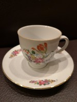 Gyönyörű minőségi virágcsokros Bavaria kávéscsésze+alj hibátlan