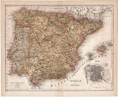 Spanyolország és Portugália térkép 1874, német nyelvű, lexikon melléklet, Madrid, régi
