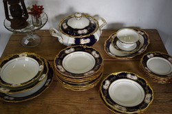 Reichenbach GDR porcelán étkészlet, aranyozott szélekkel.