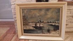 Téli vízparti tájkép festmény olaj-vászon 70x90 cm