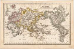 Világtérkép 1840, német nyelvű, atlasz, eredeti, Pesth, 29 x 44 cm, magyar kiadás, térkép