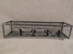 Üvegláda - bádog - üveg -  36 x 10 x 8 cm