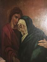 Pál apostol vigasztalja Máriát festmény fán Monumentális!Egyházi