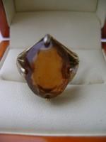 Antik aranyozott ezüst női gyűrű eredeti természetes drágakővel gránit cca 12 ct