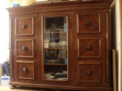 Gyönyörű antik 6 részes dolgozószoba garnitúra szekrény 2 asztal 3 fotel