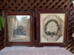 Antik mirtuszkoszorú , antik  bekeretezett fényképpel