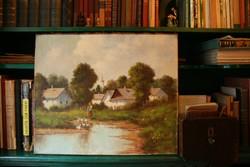 """Szentgály Ferenc: """"Libaetetés"""" olaj-vászon festmény"""