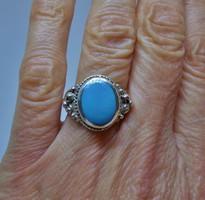 Szépséges régi nagy türkizkék köves ezüstgyűrű