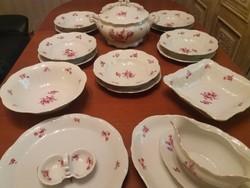 Rózsás antik Zsolnay 6 személyes barokk étkészlet,hibátlan aranyozással,különleges sütis szettel