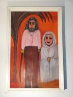 Oláh Jolán: Mária és József, közepes méretű olaj festmény