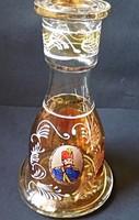 Vastagfalu váza (portré képekkel),fémes-lüszteres ,kézi festett