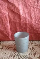 Ezüst csíkos ünnepi üveg mécsestartó pohár karácsonyi dekoráció