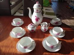 Herendi Apponyi pur-pur mintás teáskészlet, teás készlet