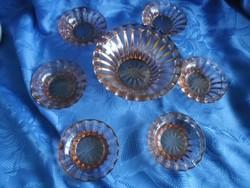 Régi színes üveg mogyorókínáló készlet