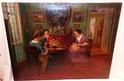 Ferenczy olaj-vászon életkép festmény