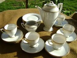 Kőnigl. Pr. Tettau porcelán empir süteményes és kávés készlet  22 db áll