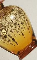 Szecessziós régi ibolya váza ( gazdagon aranyozott mintákkal )