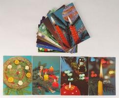 0V475 Retro karácsonyi színes képeslap 12 db