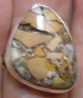 925 ezüst gyűrű, 18,6/58.4 mm, breccsa mokaittal