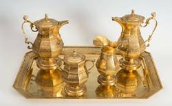 Aranyozott antik ezüst  teás-/ kávéskészlet