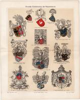 Heraldika, címertan, címer, színes nyomat 1906, német nyelvű, litográfia, eredeti, Schiller, Görlitz