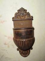 Antik 1800 as szenteltvíztartó szentelt víz tartó falikút öntöttvas 15cm ritkaság