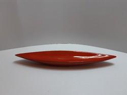 Zsolnay art deco csónak formájú vörös mázas kínáló tál